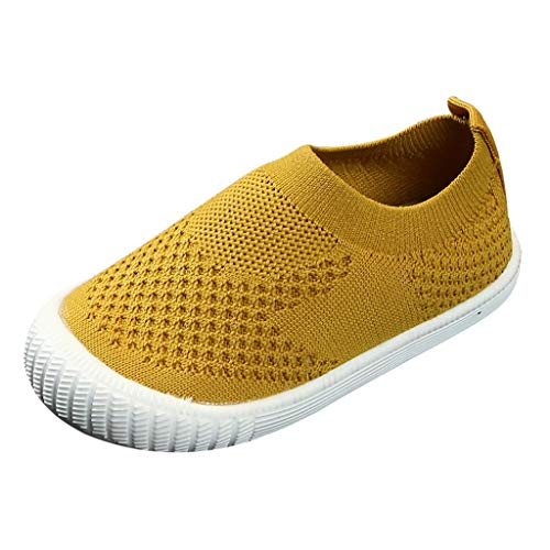Gleamfut_Baby Girls Boys Casual Cloth Shoes Flying Weaving Mesh Breathable Shoes Sneakers Lightweight Outdoor Running Shoes Yellow ()