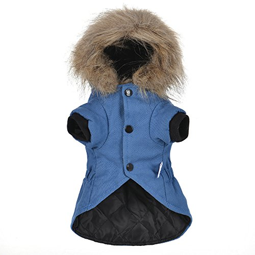 Cat Pet Small Dog Doggy Clothing Winter Warm Padded Thickening Vest Coat Dog Costumes Pet Fur Collar Clothes Sweater Dog Shirt Apparel Doggy Vest Puppy Sweatshirt Outfits Doggy Dress (Blue, XL) by succeedtop (Image #3)