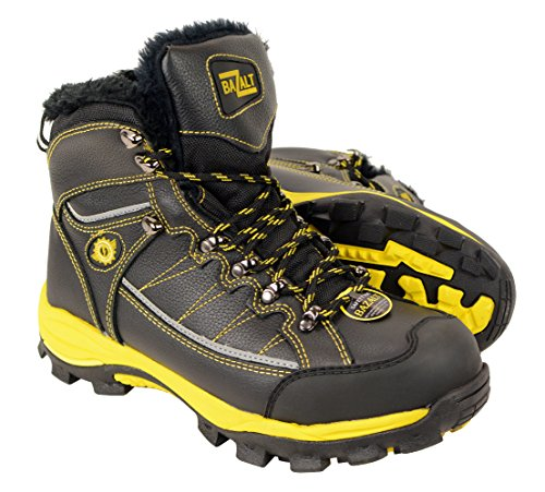 BAZALT-MPM9125ST-BAZALT-Mens Black & Yellow Water & Frost Proof Leather Boots w/ Faux Fur Lining & Composite Toe - Black-Yellow / 12