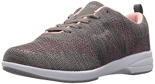 Propet Women's Washable Walker Evolution Oxford, Grey/Pink, 8 2E US (Washable Walker Shoes)