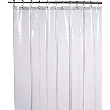 LiBa Mildew Resistant Anti-Bacterial PEVA 8G Shower Curtain Liner, 72x72 Clear - Non Toxic, Eco-Friendly, No Chemical Odor, Rust Proof Grommets