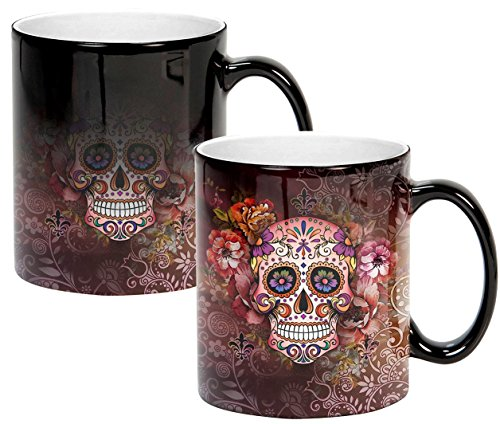 Sweet Gisele | Sugar Skull Mug | Heat Activated | Color Changing Coffee Cup | Floral Pattern Ceramic | Reveals Vivid Colors | Great Novelty Gift | Black | 11 Fl. Oz