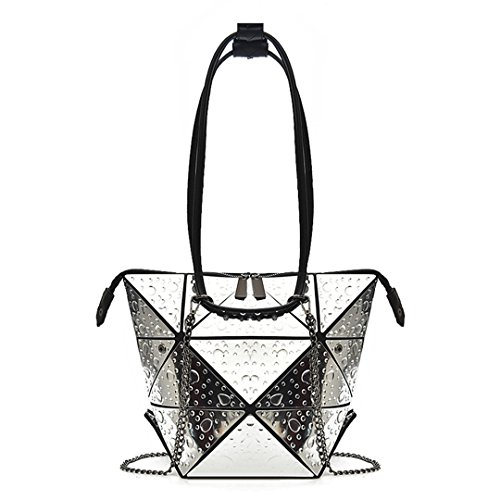 Chain Tote Bags Fashion Nano Women's Drops Rhombus Folding Geometry Bogey Silver nqwF8xAFTa
