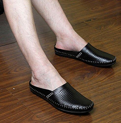 YiLianDa Herren Mokassins Bequeme Slipper Lederoptik Freizeit Schuhe Schwarz
