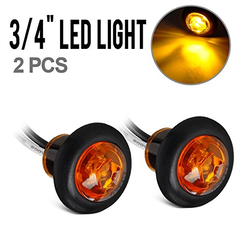 Partsam 2 Pcs Amber Side Marker Combination Clearance Light LED Amber Clear - Lens F1 0