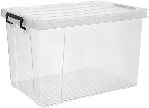 Pwofrg Caja de Almacenamiento Transparente de Gran Capacidad Ropa de plástico Ropa de Juguete La Ropa Engrosada con Tapa se Puede superponer Diseño de manija Hebilla de Sellado: Amazon.es: Hogar