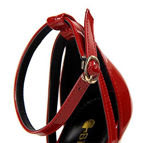 z&dw Moda simple y delgado tacones altos una palabra con sandalias profesionales ol Rojo