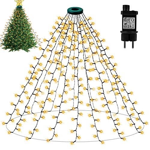 Lichterkette Weihnachtsbaum - Weihnachtsbaum-Überwurf-Lichterkette mit 16 Girlande 400er LED 8Modelle Weihnachtsbeleuchtung, Weihnachtsdeko für Weihnachtsbaum-künstlich