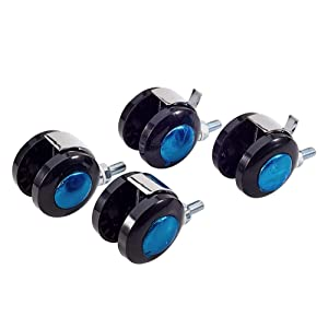 MroMax Furniture Casters Alloy 2.01 Inch Twin Wheel Threaded Stem Swivel Caster, 44lb Load Capacity, 4 Pcs 2 with Brake, 2 no Brake