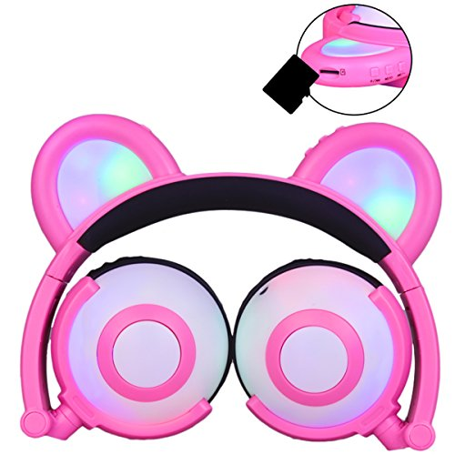 phones for Kids Over-Ear Headset Wireless Foldable LED Light Glowing Earphones, Built-in Microphone, Support SD Card C109 (pink) (Wireless Bear)