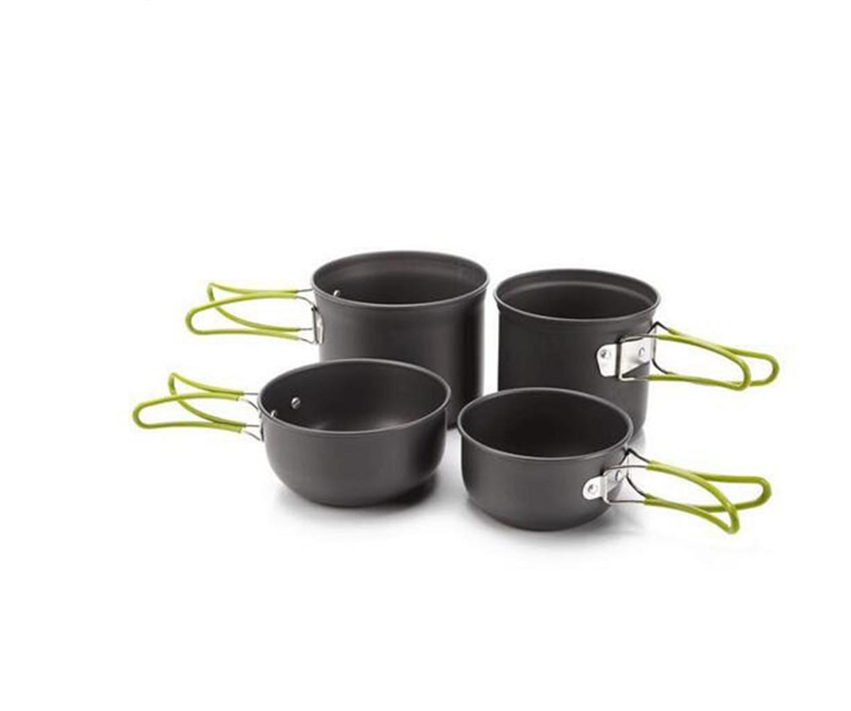 YHKQS-KQS Camping Kochgeschirr Set Outdoor Kochgeschirr Zubehör 2-3 Personen Ein Typ Mantel Wasserkocher (Big Pot, Kleiner Topf) Faltbarer Griff Edelstahl