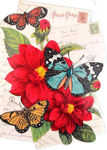 (Punch Studio Glitter Gem Embellished Die Cut Notepad ~ Floral Butterfly Postcard)