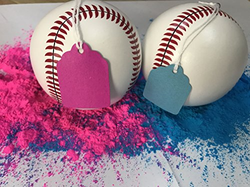 Gender Reveal Baseballs (2-Count) Blue and Pink Powder Included! Great for Family Fun, Outdoor Activities, Baby Shower Ideas, Sex-Reveal Parties, and Gender Reveal (Shirt Shaped Dinner Plates)