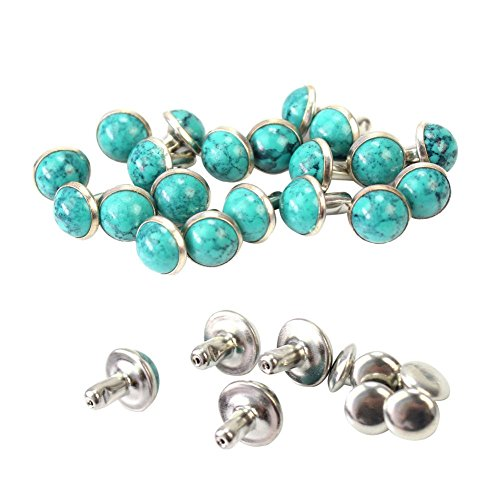 Funnytoday365 20 Pairs 8Mm Turquoise Rivets Punk Studs Spikes Garment Belt Leather Craft Shoes Bags Clothes Diy ()