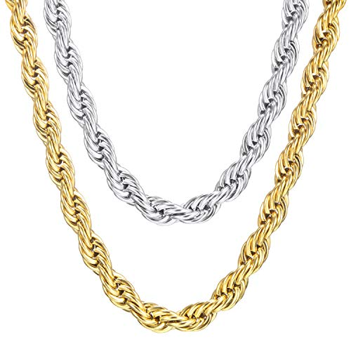 Blulu 2 Pieces 18K Faux Gold and Stainless Steel Chain Necklace, Men Women Gift for Birthday, Valentine's Day, Christmas (24 Inches, 7 mm)