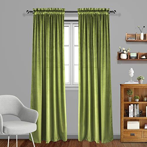 Eamior Living Room Blackout Velvet Curtains - Super Soft Dutch Velvet Rod Pocket Drapes Sound Reducing Heavy Solid Panels (Set of 2, 96