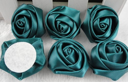 18x Big Satin Ribbon Rose Flower DIY Craft Appliques