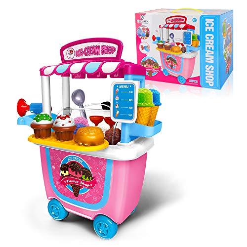 Gizmovine Ice Cream Toy (31 pcs) Pretend Food Truck Toy Play Set Ice Cream Cart for Toddler Girls 5,4,3,2 Year -