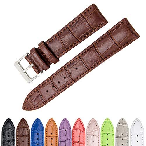 CIVO Genuine Leather Watch Bands Top Calf Grain Leather Watch Strap 16mm 18mm 20mm 22mm 24mm for Men and Women (Dark Brown, 19mm)