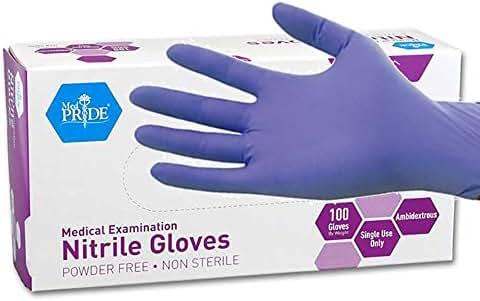 MedPride Powder-Free Nitrile Exam Gloves, Medium, Box/100