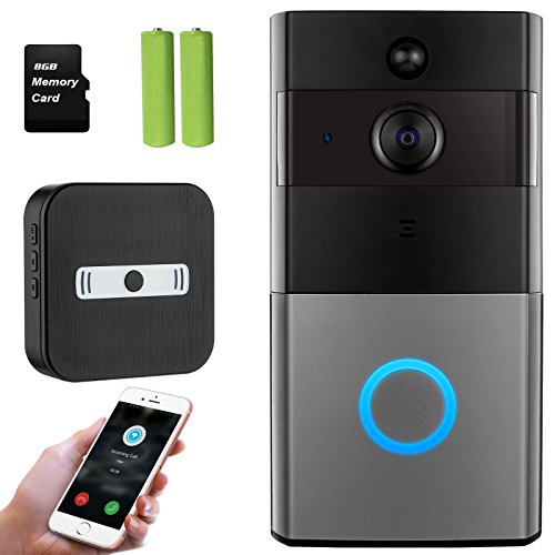 Mbangde Wifi Video Doorbell + Indoor Chime, Smart Doorbell 720P HD Wifi Security Camera with 8G Memory Storage, Battery Powered, Real-Time Two-Way Talk, Night Vision, Motion Detection for IOS Android by Mbangde