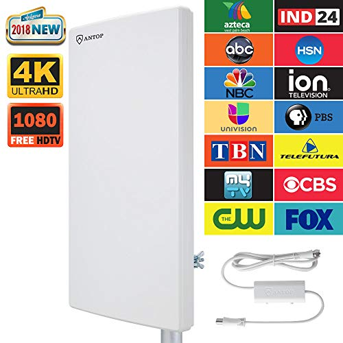 ANTOP Outdoor/Attic Amplified HD Digital TV Antenna 80 Miles