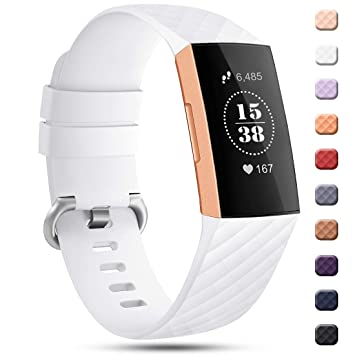 Gogoings for Fitbit Charge 3 Strap Band White - Soft Silicone