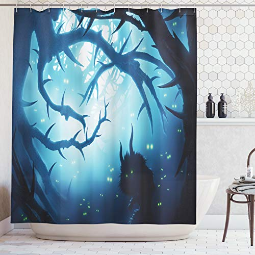 Ambesonne Mystic House Decor Shower Curtain, Animal with Burning Eyes in Dark Forest at Night Horror Halloween Illustration, Fabric Bathroom Set with Hooks, 69W X 70L Inches Long, Navy White -