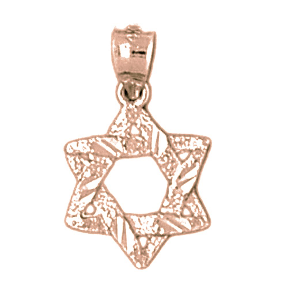 Jewels Obsession Star Of David Necklace 14K Rose Gold-plated 925 Silver Star of David Pendant with 16 Necklace