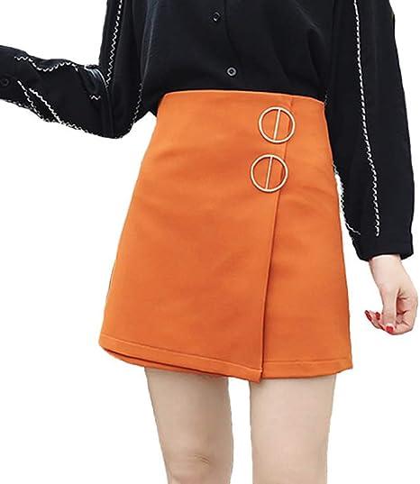 QBXDQ Falda Corta Faldas para Mujer Harajuku O-Ring De Metal Falda ...