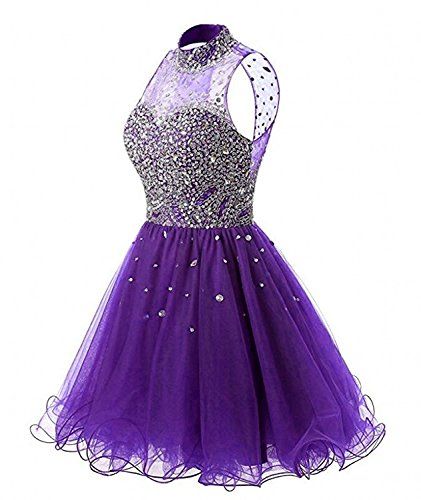 Fashionbride Women's Crystals Halter Short Homecoming Dresses Sparkle 2018 Prom Gowns - Homecoming Dresses Prom Sparkle