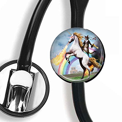 Stethoscope Tag - Funny Cat Riding a Red Eyes Fire Breathing Unicorn - Stethoscope Accessory - Steth ID Tag/Nurse Badge/RN/LPN/RT (Best Stethoscope For Rn)