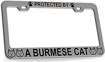 BURMESE CAT CHROME License Plate Frame Tag Holder