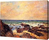 """This 15"""" x 19"""" premium gallery wrapped canvas print of Rocks and Sea by Paul Gauguin is meticulously created on artist grade canvas utilizing ultra-precision print technology and fade-resistant archival inks. This magnificent canvas print is gallery ..."""