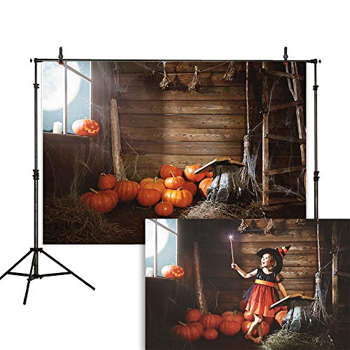 Allenjoy 7x5ft Halloween Photography Backdrop Old Wooden Hut Witches Barn Pumpkins Cobweb Magic Book Broom Jack Night Moon Background Photo Studio Booth Children Party Decorations Banner -