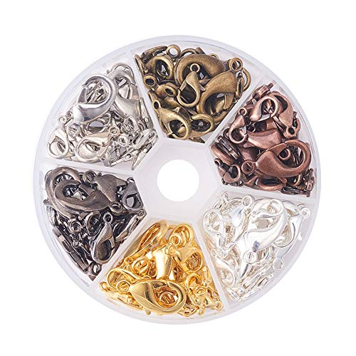 PH PandaHall About 144pcs 6 Color 4 Sizes Brass Lobster Claw Clasps for Jewelry Necklaces Bracelet Making (10x6mm, 12x6mm, 14x8mm, 18x10mm)