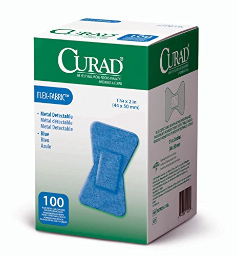 Curad Fingertip Adhesive Bandages, Woven Blue Detectable Bandage, 100 Count -