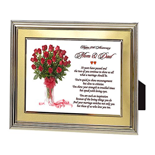 Mom and Dad 50th Anniversary Gift - Parents Golden Anniversary Poem in Gold Picture Frame