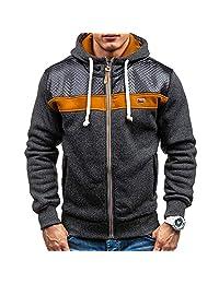 SWPS Men's Warm Jackets, Male Autumn Winter Fleece Cardigan Hooded Fashion Warm Sweater Coat