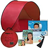 Pluto Red Hills Tent: A Perfect Kids Shelter. an Outdoor Travel and Activities Shade Tent Mini Canopy. Lightweight and Protects from Wind, Sun & Rain at The Beach or Park. Includes Fun Bonuses