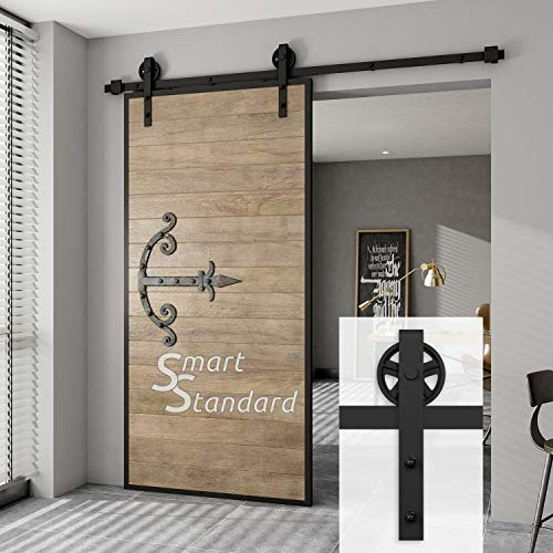 "SMARTSTANDARD Heavy Duty Sliding Barn Door Hardware Kit, 6.6ft Single Rail, Smoothly and Quietly, Simple and Easy to Install, Fit 36""-40"" Wide DoorPanel, Black (Big Wheel Shape Hanger)"