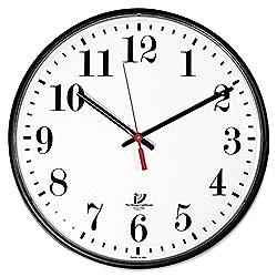 Chicago Lighthouse Large Quartz Slimline Clock, 12-3/4, Black (67300002)
