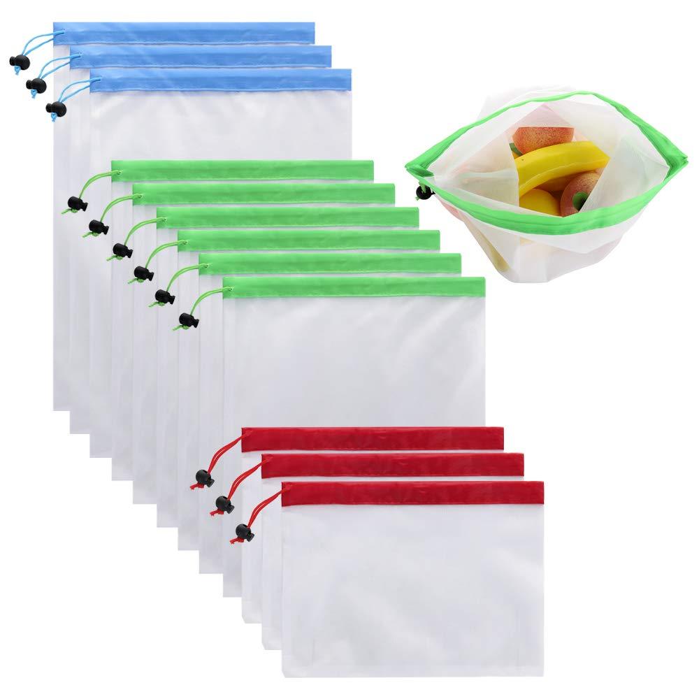 再利用可能なプロデュースバッグ 12点 メッシュバッグセット 軽量 エコフレンドリー 食料品袋 Sサイズ Mサイズ フルーツ野菜 サンドイッチ おもちゃ ショッピングストレージ リサイクル可能洗濯可能ネットバッグ B07GXN1JG5