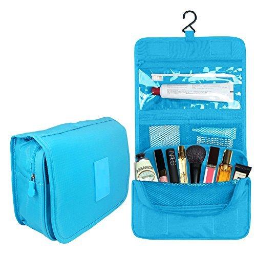 "[Pop Makeup Bag | Secure Multifunction 7.3"" x 9.5"" x 3.7"" Makeup Toiletry Travel Kit Organizer Bag with Hanging Hook and Flat Bottom | Safe Waterproof Polyester for Man Woman Key Storage | Blue | 1522] (Justice Makeup Kit)"