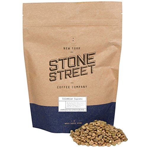 COLOMBIAN SUPREMO Unroasted Green Raw Coffee Beans, 1 LB Bag, 100% Arabica Top Grade Extra Large by Stone Street Coffee