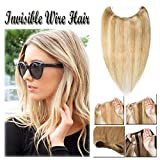 Miracle Hidden Invisible Translucent Wire in Human Hair Extensions Fish Line Highlight Ombre No Clip in Long Straight Ash Blonde & Bleach Blonde 16 inch Remy Hair (16'' #18&613)