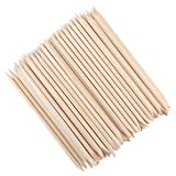 SAVITA 100pcs Double End Orange Wood Sticks Nail Sticks Multi Functional Cuticle Pusher Remover for Manicure Pedicure Art Accessories