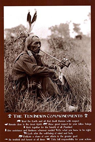 Ten Indian Commandments Poster 24 x 36in with Poster Hanger (Ten Native American Commandments)
