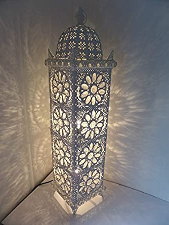 Charming Large Moroccan Floor Lamp   90cm X 21cm   Stylish Cutwork Jeweled Floor  Light With Clear Acrylic Beads And Intricate White Cutwork Metal. Takes E14  Bulbs