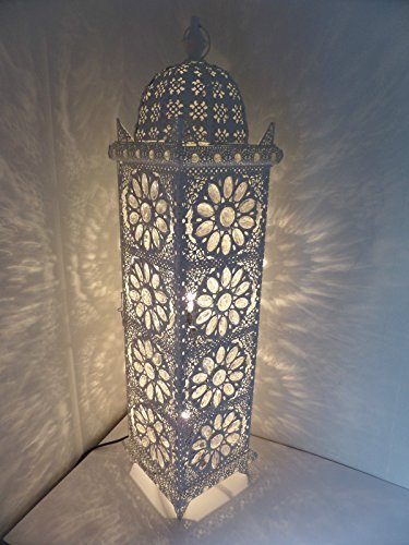 Large Moroccan Floor Lamp   90cm X 21cm   Stylish Cutwork Jeweled Floor  Light With Clear